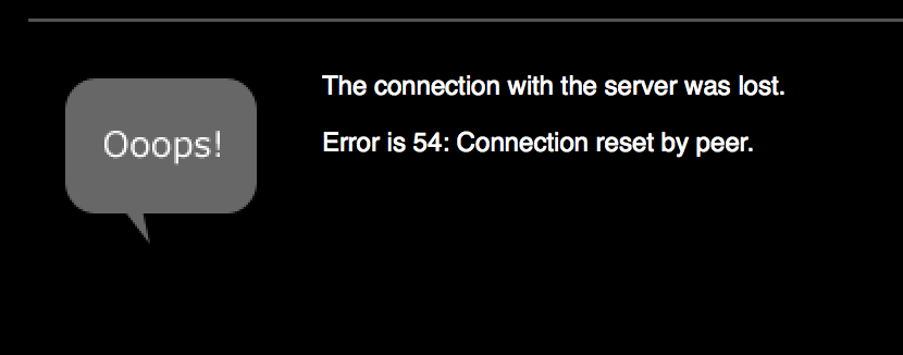 error connection reset